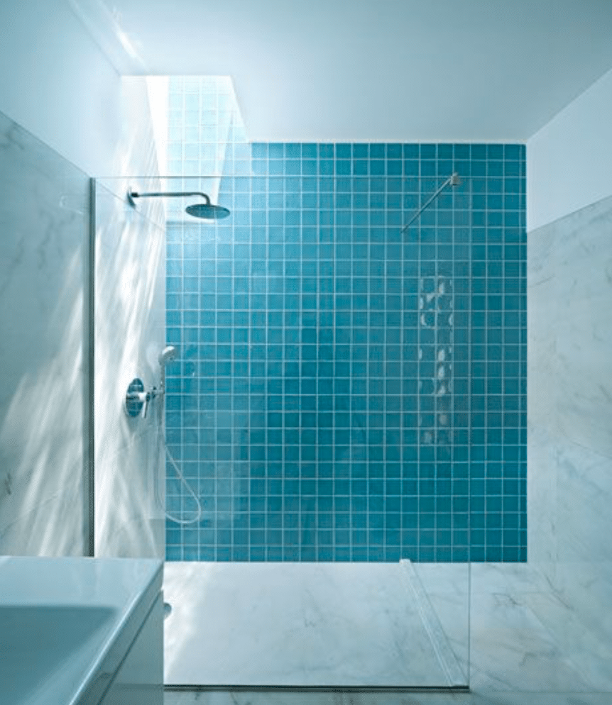 modern blue ensuite bathroom
