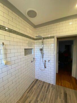 shower corner with door open